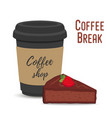 coffee break concept mug and brownie vector image