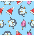 collection stock penguin and ice cream colorful vector image