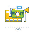 creative logo template with camera film strip vector image vector image