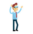 cute man with hands up and glasses vector image