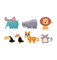 cute wild african animals set lion hippopotamus vector image vector image