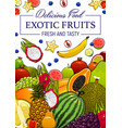 exotic tropical fruits cartoon poster vector image vector image