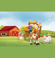 farm scene in nature with barn and horse drawn vector image vector image