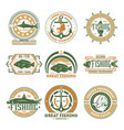 fishing tournament vintage isolated label set vector image vector image