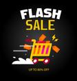 flash sale cart black background image vector image