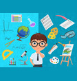 flat style of diligent schoolboy character in vector image vector image