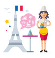 french cuisine woman chef flat style colorful vector image vector image