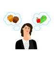girl chooses between unhealthy and healthy food vector image vector image