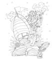 Hand drawn doodle outline boat boho vector image vector image