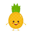 happy cute smiling funny pineapple vector image vector image