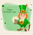 happy st patricks day cheerful leprechaun vector image vector image