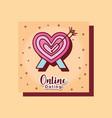 heart pierced arrow online dating card cartoon vector image