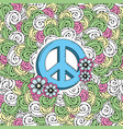 hippie emblem symbol with ornamental design vector image vector image