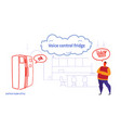 home fridge controlled by man smart tech vector image vector image