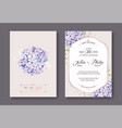 hydrangea flowers wedding invitation vector image vector image