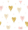 kawaii heart balloons seamless pattern background vector image vector image