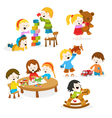 Kids Playing With Toys vector image