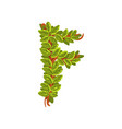letter f english alphabet made of tree branches vector image
