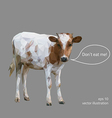 Little cow is calling for vegetarianism polygonal vector image