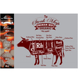 menu template for grilling with steaks and cow vector image vector image