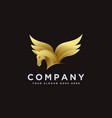 modern powerful elegance gold pegasus logo icon vector image vector image