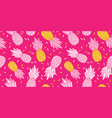 pink yellow pineapples repeat pattern design vector image vector image