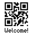 qr code sample icon with text welcome vector image