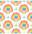rainbow pattern love background cute childishly vector image