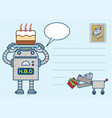 robot happy birth day postcard vector image