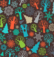 Seamless festive colorful forest pattern vector image vector image