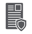 security document glyph icon privacy and paper vector image vector image