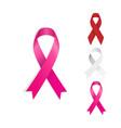 set gray red and pinck ribbon vector image vector image