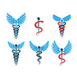set of caduceus symbols created using bird wings vector image