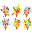 set of ice cream vector image