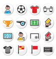 Soccer or football round icons set vector image vector image