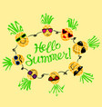 summer background with pineapples hello summer vector image