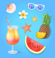summer season pineapple set vector image vector image