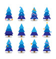 winter colorful cartoon christmas tree set vector image