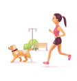 woman jogging in park with dog vector image