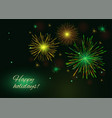yellow green golden fireworks over starry night vector image vector image