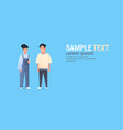 young asian couple wearing casual clothes happy vector image vector image