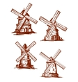 Hand-drawn windmills in vintage style vector image
