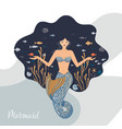 a meditating mermaid with vector image vector image