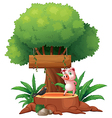 A pig and a bird above a stump in front of a vector image vector image