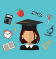 Back to school set of flat simple design icons
