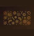 bacterium linear golden horizontal banner vector image vector image