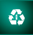 battery with recycle symbol renewable energy icon vector image vector image