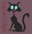 black cat on halloween drawing vector image