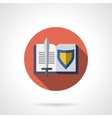 Book about knighthood flat round icon vector image