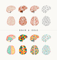 Brain and ideas icon set vector image vector image